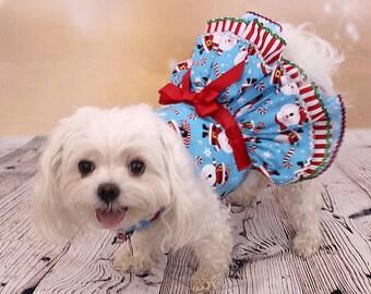 Dog Dress, Dog Harness dress, Christmas dress for Small Dogs, Ruffle Dress, Dog Christmas Dress, Blue Dog Christmas Dress, Santa Claus