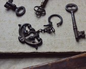 The Gatekeeper Keychain. Rustic Gothic Bohemian Antique Escutcheon Vintage Key Ring.