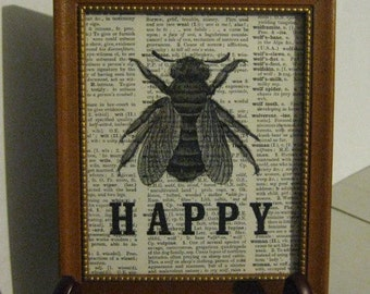 Bee Happy Framed Print on Vintage Dictionary Page