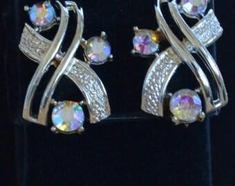 On Sale Pretty Vintage Aurora Borealis Rhinestone, Gold tone Clip Earrings, Coro (V15)