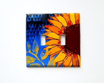 Sunflower Switchplate, You Are My Sunshine, Double light switchcover, blue yellow kitchen, Electrical outlet covers