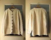 Hand Knitted Fisherman Sweater Chunky Natural Wool Cardigan Sweater Cream Button Up Cable Knit and Pockets Made In SCOTLAND Womens Large