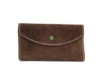 Vintage brown suede leather wallet Leather Checkbook Purse Retro Folding billfold