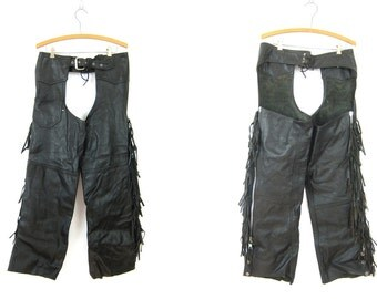 Vintage black Leather Western Chaps with Fringe Biker Chaps Fringed Motorcycle Riding Pants Medium Large DELLS