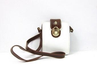 90s Brown and White Purse Vintage Crossbody Wallet Purse Shoulder Bag Long Strap Women's Preppy Purse Purse Faux Leather