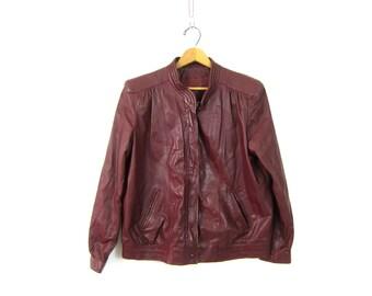 Vintage Oxblood Red Leather Coat 1970s Dark Burgundy moto Cafe Coat Winlit Motorcycle biker jacket Fall Boho Hipster Coat Womens Size Large