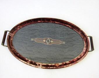 Vintage Art Deco Serving Tray w Glass Top Black & Brown Underlay Barware Retro Vintage Table Top Platter Louanne's Estate Sale