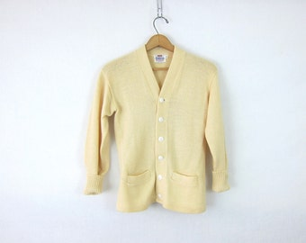 1950s wool CAMPUS cardigan sweater Retro button up long sleeve cream white preppy Hipster Pocket sweater Size Small Medium