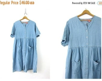 Vintage Blue Denim Jean Jumper Dress babydoll baggy fit dress loose button front shirt dress with pockets Women's Size Large 14