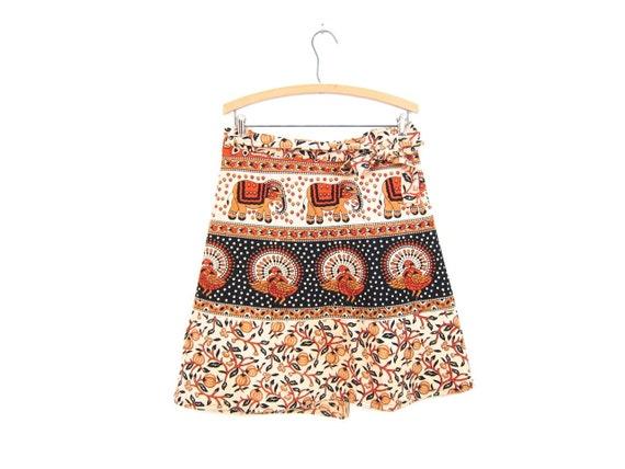 Vintage Indian Wrap Skirt ELEPHANTS BIRDS Ethnic Mini Skirt Orange Black Tribal Floral Skirt PEACOCKS Gypsy Vintage Festival Cotton Skirt
