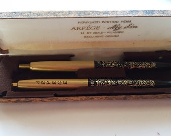 Vintage Gold and Black Pen Set of Two Perfumed Scented Pens 14 kt Gold Filigree, Arpege  My Sin, Original Gift Box Empty Ink
