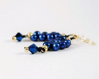Royal Deep Blue Pearl Twigs, Freshwater pearl earrings, laced pearls, house of tor, houseoftor