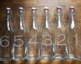 Numbered Swing Top Glass Bottles - Square