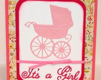It's A Girl - Carriage - New Baby - Baby Girl - Greeting Card - Style 2