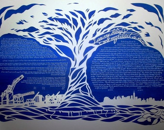 Giant Oak Tree with Downtown Oakland and NYC skylines - Papercut Ketubah with calligraphy