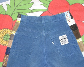 uPcycle vintage Levis corduroy pants handmade hippie patchwork ruffle bell bottoms flare