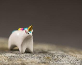 BACK IN STOCK - Little Rainbow Unicorn - Miniature Terrarium Figurine Hand Sculpted Polymer Clay Animal