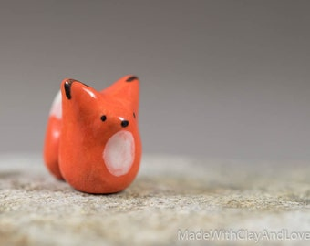 Little Orange Fox - Miniature Terrarium Ceramic Porcelain Animal Figurine Sculpture - Hand Sculpted