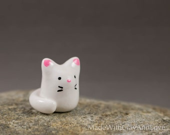 Little Kitty - Miniature Polymer Clay Animal Terrarium Figurine - Hand Sculpted