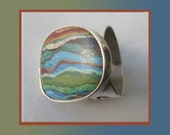 Most UNUSUAL-Navajo Striped Rainbow Calsilica Sterling Silver Ring,Fancy Setting,For Men or Women,Vintage Jewelry,Unisex