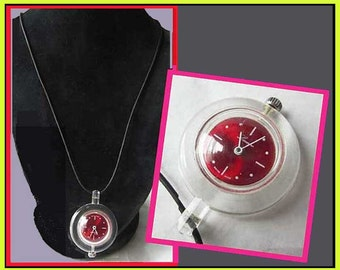 Clearly MOD-Fun Lucite Pendant Watch/Bright Red Face,Leather Cord,Agon,Swiss Made 1960s,Wind-Up,Working Condition,Vintage Jewelry,Women