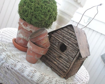Vintage Bird House * Birdhouse * Shabby Log Cabin Cottage * Patina