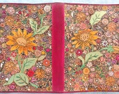 Red Border Leather Jr. Legal Pad Cover with Many Flowers and Critters Made in GA USA