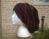 Knit Hat - Hand Knit Hat - Womens Hat - Slouchy Hat - Rasta Hat in Earth - Long Slouch