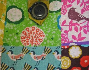 Market tote / birds hedge hog sheep / patchwork squares of Japanese canvas / trendy modern bag