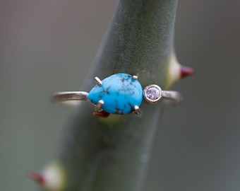 Asymmetrical Turquoise + Diamond Ring