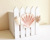 White Picket Fence Wood Box Sea Shell Wooden Planter Container Unique