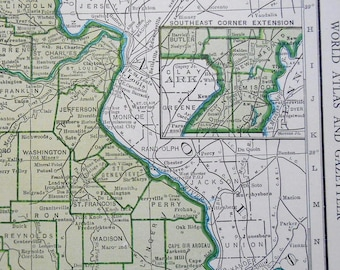 Vintage Missouri Map, 1940s US State, green map, Old atlas map