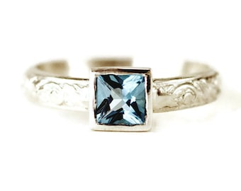 Princess Cut Swiss Blue Topaz Ring - Sterling Ring with 5 mm Bezel Set Blue Topaz