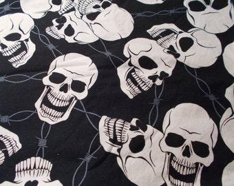 Alexander Henry Steel + Bone Fabric Pirate Skull Goth Gothic Biker Novelty Fabric Quilting Yardage Barbwire 2.7 Yds RARE