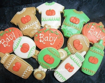 Baby Shower Cookies - Lil Pumpkin Baby Shower Cookies - 12 Cookies