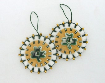 Hand Sewn St. Patrick's Day Ornaments with Shamrock Porcelain Buttons- Set of 2