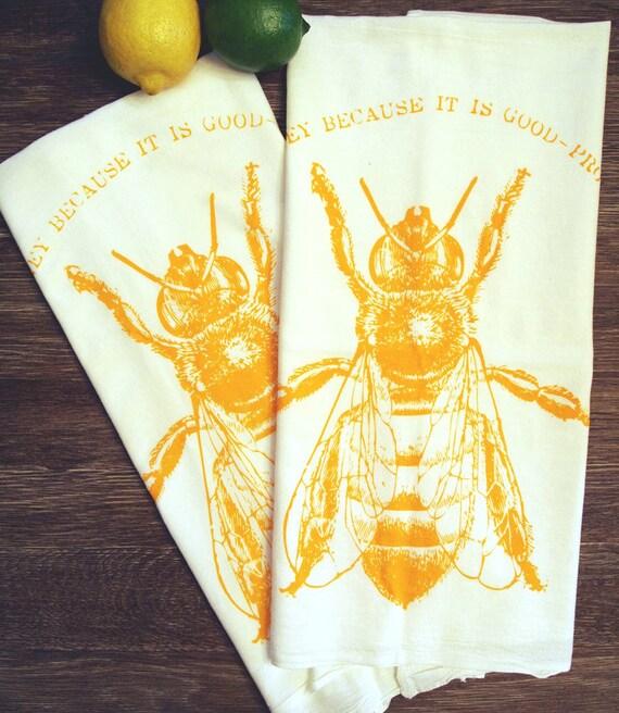 Eat HONEY - Multi-Purpose Flour Sack Bar Towel - Set of 2 - Renewable Natural Cotton