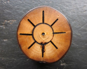 Natural Wood Talisman for Altar or Pocket - Bay - Double-Sided Solar Pentacle.