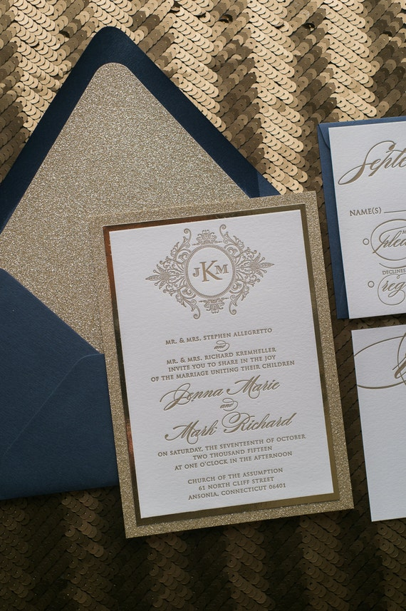 Letterpress 1 Color Fancy Navy And Gold Glitter Calligraphy
