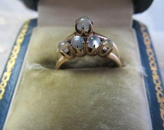 Danusharose Vintage SOULMATE 10K Rose Gold Victorian Grayish Moonstone 5 Orb Low Setting Wedding Ring SET  Fine Jewelry Report