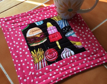 Yummy snacks - oversized coaster - mini placemat Cheeseburger, french fries, lollipop, rocket popsicle