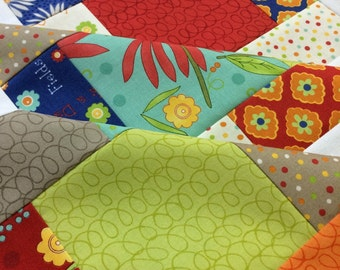 Unfinished baby sized quilt - Moda - One For You, One For Me - by Pat Sloan - bright and fun 38 in x 38 in