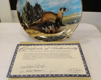 Vintage China Plate, Endangered Species Collection, The Black-Footed Ferret 1990