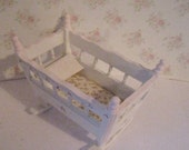 Dollhouse cradle, Pink and White cradle, cot, nursery cot, nursery cradle, twelfth scale dollhouse miniature