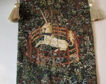 Medieval  Tapestry,  Unicorn tapestry, Tapestry,  hanging , Tudor, twelfth scale, dollhouse miniature