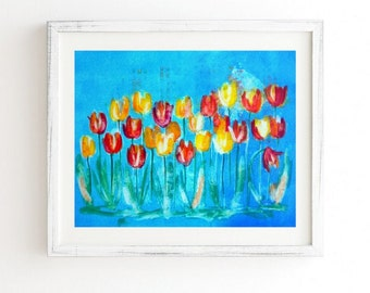 Tulips in Blue - Weathered Framed Wall Art