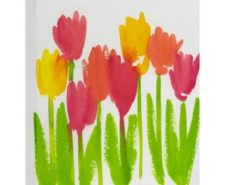 Bright Tulips Art Canvas
