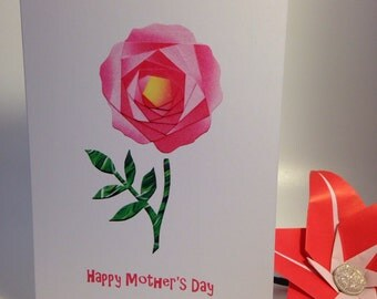 Iris folded scene greeting card (printed) - Happy Mother's Day rose