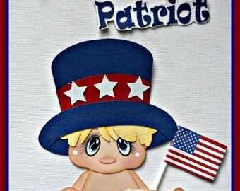 July 4th Premade Handmade Scrapbook Baby Boy Paper Piecing Elite4u