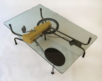 QUICK SHIP! Glass Top Contemporary Modern Coffee Table - Upcycled - Retro - Vintage